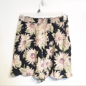 Vintage Plus Size Floral Print High Waisted Shorts
